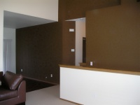 Brown accent walls.