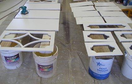 Painting cabinet doors.