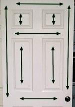 Direction of wood grain on smooth metal door.