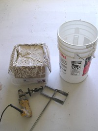 Tools needed to mix-up the texture mud.