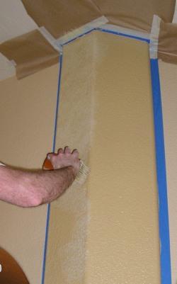 Applying a subtle faux paint stippling effect to a false column.