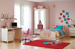 Traditional pink girl's bedroom.