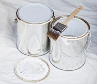 Two cans of paint.