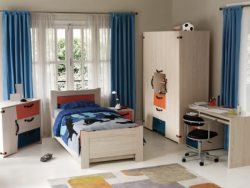 Kid's bedroom with a neutral paint color used and tastefully decorated.