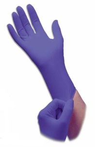 Protect your hands with disposable nitrile gloves.