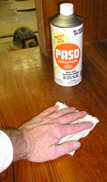 Wiping cabinet surface with Paso Deglosser