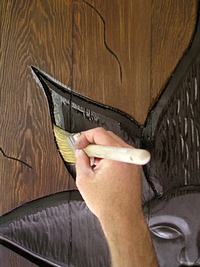 Applying Wood Varnish to the carved areas. & Applying Wood Varnish to the Custom Entry Doors