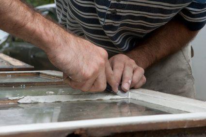 Reglazing a wood window sash.