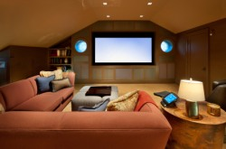Upscale home theater room.