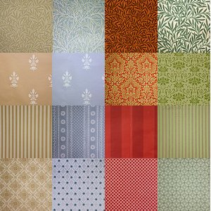Wallpaper colors and patterns by Waterhouse Wallcoverings.