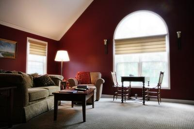 Lovely red living room. & Choosing Color: How Color Affects Mood - The Practical House ...