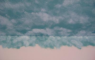 Clouds painted on a ceiling.