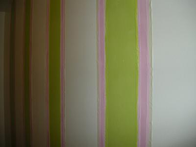 Painting Stipes-Tape on wall for both colors.