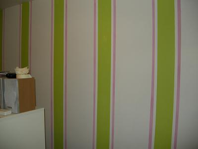 Painting Stripes-Finished with tape removed from the wall.