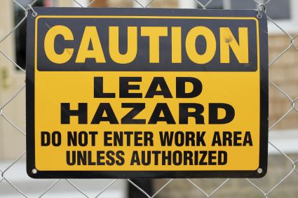 Caution, lead paint hazard.
