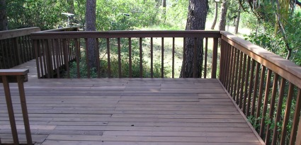 Newly stained wood deck.