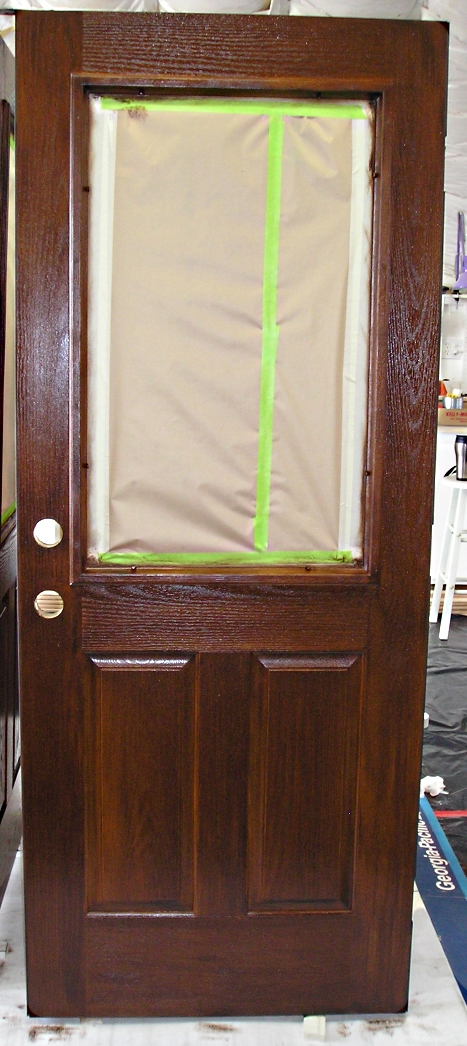 Stained and Finished Fiberglass Door ready to be rehung. & Staining a Fiberglass Door - The Practical House Painting Guide