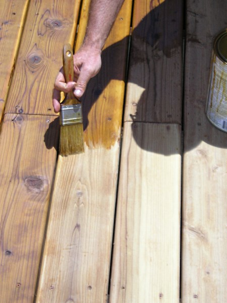 Using a natural bristle brush to apply oil base deck stain to floor boards.