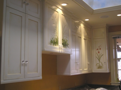 Kitchen Cabinets Painted with Flowers