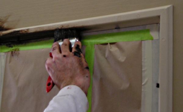 Staining a fiberglass door- window frame.