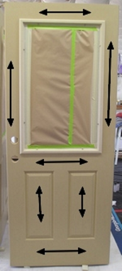 Stain sequence for staining a fiberglass door.
