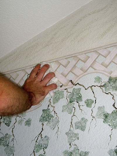 Wiping On Wallpaper Stripper To Help Remove A Border