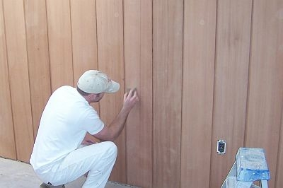 Sanding Redwood Paneling