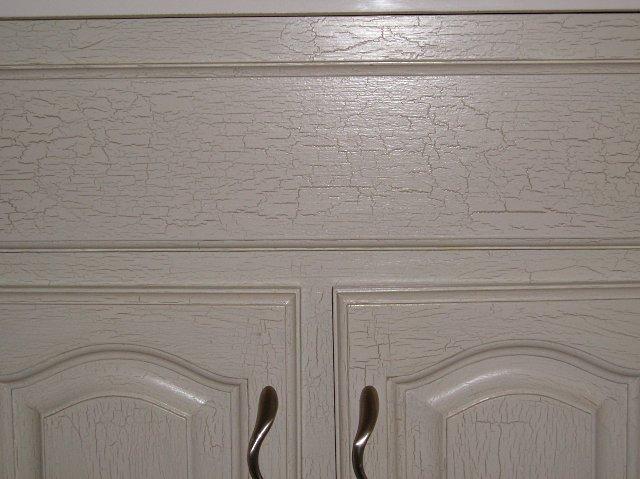Crackle paint applied to bathroom vanity.