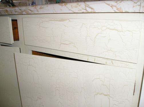 Bath vanity crackle painted.