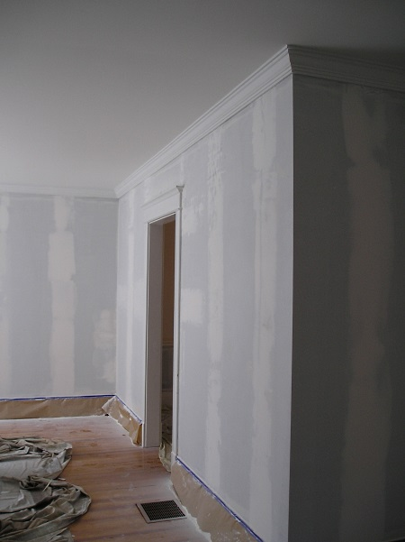 Walls patched and ready to paint after removing wallpaper.