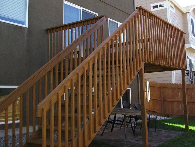 Freshly redwood deck.
