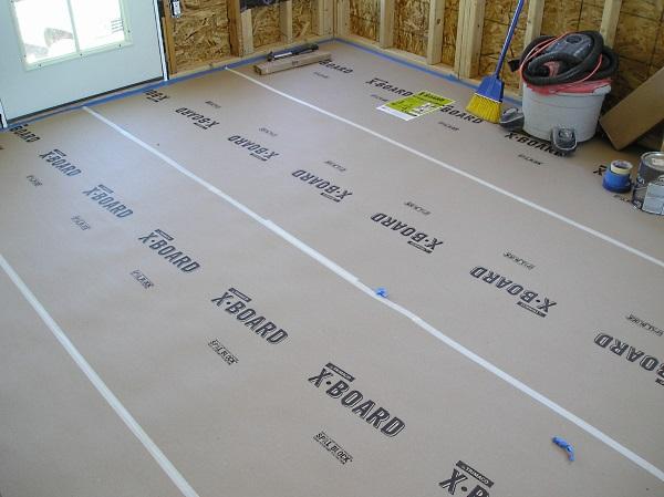 X-Board in use protecting ceramic tile.