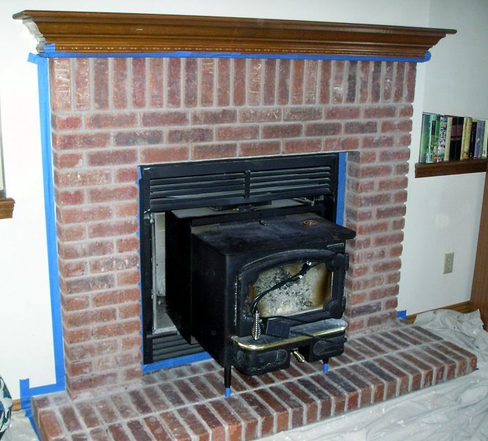 how to clean brick fireplace for painting