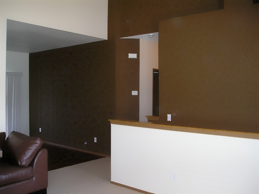 Chocolate brown accent walls.