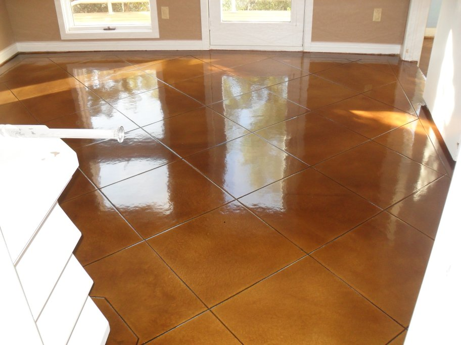 Stained concrete floor.