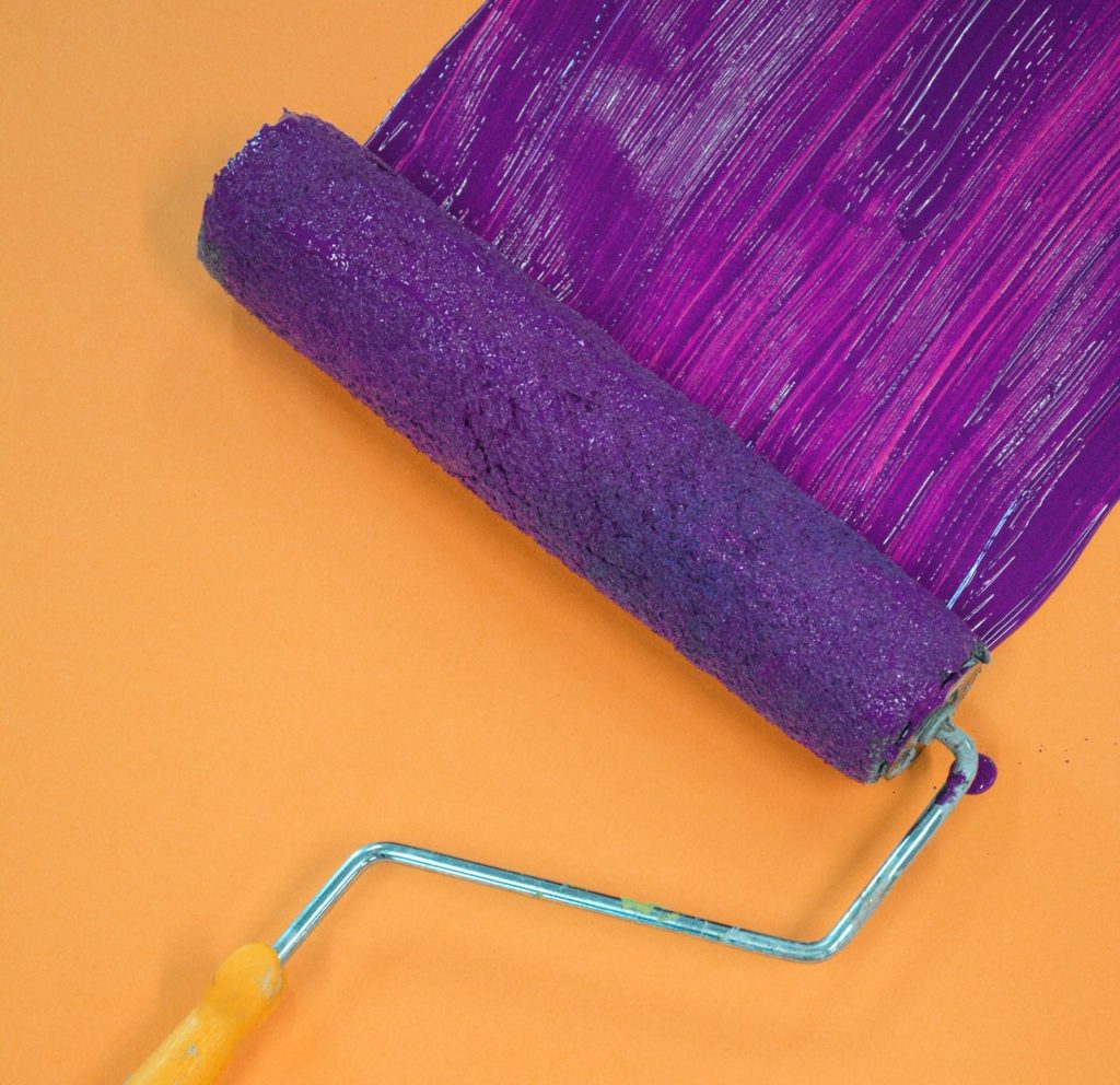 purple paint roller