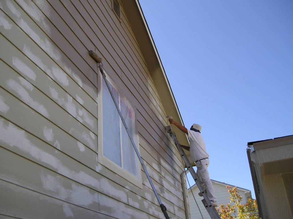 Spray Painting and Backrolling a House